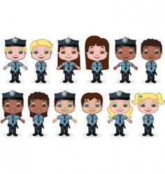 Kids dressed as police vector