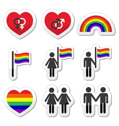 Gay and lesbian couples rainbow icons set vector