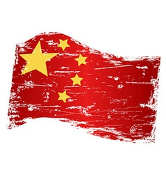Grungy china flag vector
