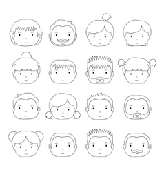 Set of line silhouette office people icons vector