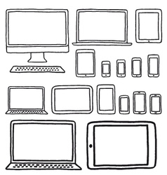 Hand-drawn devices set vector