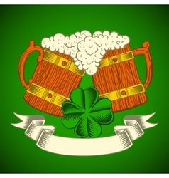 Two wooden mugs of beer on a green background vector