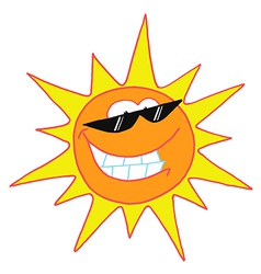 Smiling sun cartoon character vector