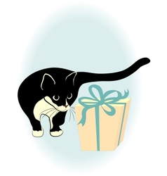 A black cat and gift box vector