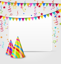 Celebration card with party hats confetti and vector