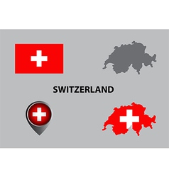 Map of switzerland and symbol vector