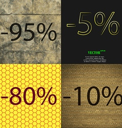 5 80 10 icon set of percent discount on abstract vector