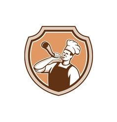 Chef cook blowing bullhorn shield retro vector