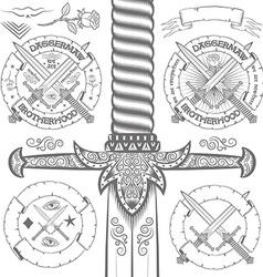 Vintage logo design with ornate daggers vector