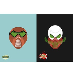 Paintball helmet and mask scary skull with smoke vector