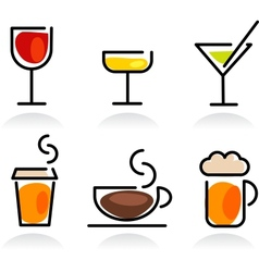 Colorful beverage icon set vector