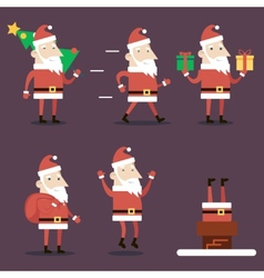 Santa claus cartoon characters set poses emotions vector