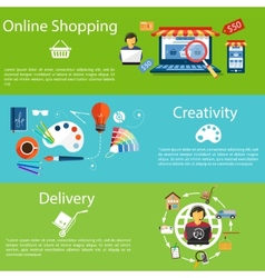 Internet shopping creativity and delivery vector