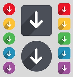 Arrow down download load backup icon sign a set of vector