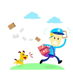Dog chasing a mailman vector