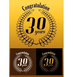 Congratulations 30 year anniversary wreath vector