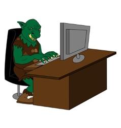 Fat internet troll using a computer vector