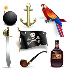 Pirate icons set 2 vector