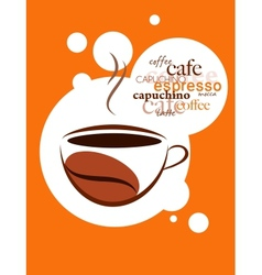 Cup of hot coffee on orange background vector