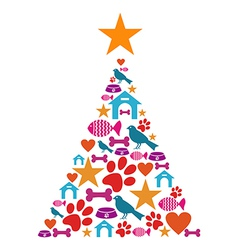 Pet care christmas tree vector