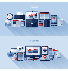 Flat design elements of finance and e-business vector