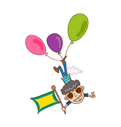 Close-up of boy flying with balloon vector