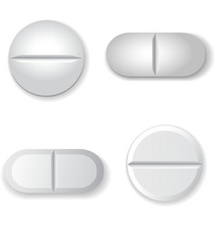 Tablets and pills set isolated on white background vector