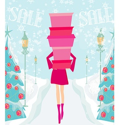 Christmas shopping - winter sale card vector