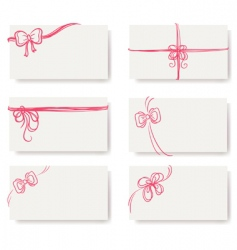 Card red bow ribbon doodle vector