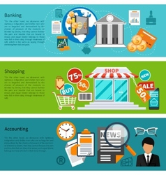 Banking shopping and accounting banners vector