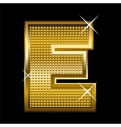 Golden font type letter e vector
