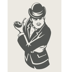 Retro man in suit with pipe vector