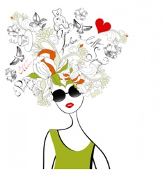 Fashion girl with original hair vector