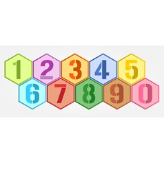 Hexagon colorful numbers set vector