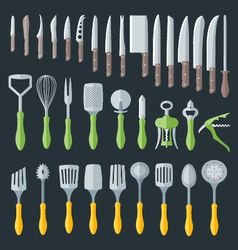 Flat kitchenware cutlery tools set vector