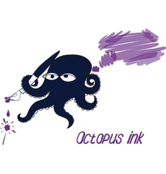 Octopus and ink vector