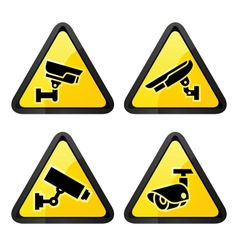 Cctv triangular labels set symbol video vector