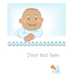 Happy african baby boy arrival announcement vector