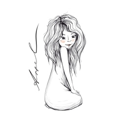 Young girl with long hair inky drawing vector