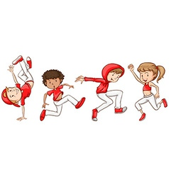 A simple sketch of the dancers in red vector