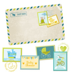 Baby shower or arrival postage stamps vector