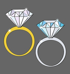 Two diamond rings white and yellow gold icon set vector