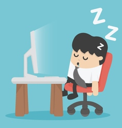 Businessman sleep at his office vector
