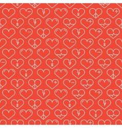 Romantic line seamless pattern with hearts vector