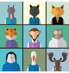 Animal avatar icon set vector