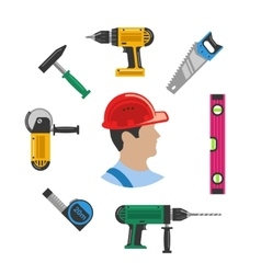 Worker with tools vector