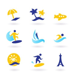 Retro summer and travel icons vector