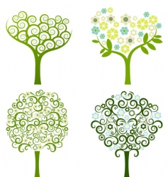 Abstract tree with flowers set vector