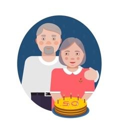 Grandparents golden anniversary portrait vector