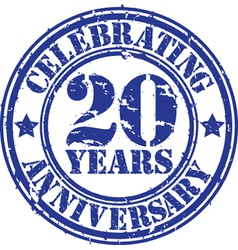 Celebrating 20 years anniversary grunge rubber st vector